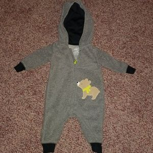 Carters hooded fleece one piece outfit